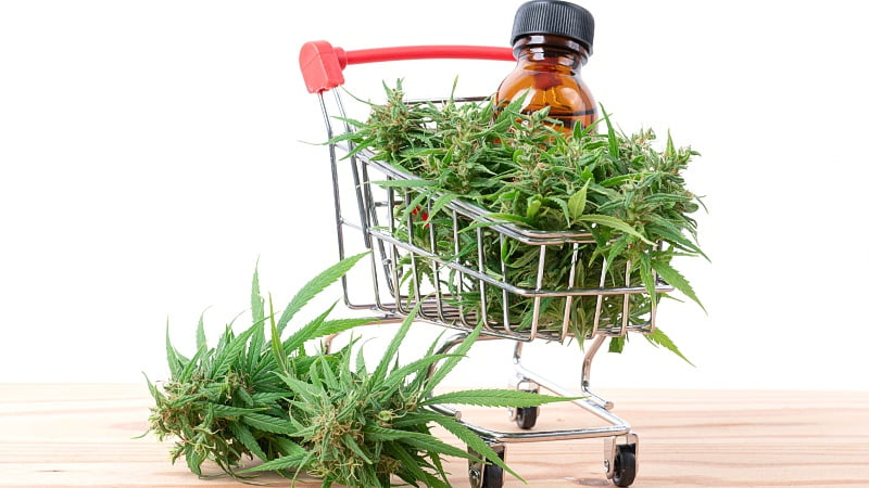 Hemp leaves and a cart with D8 Extract and hemp leaves as well
