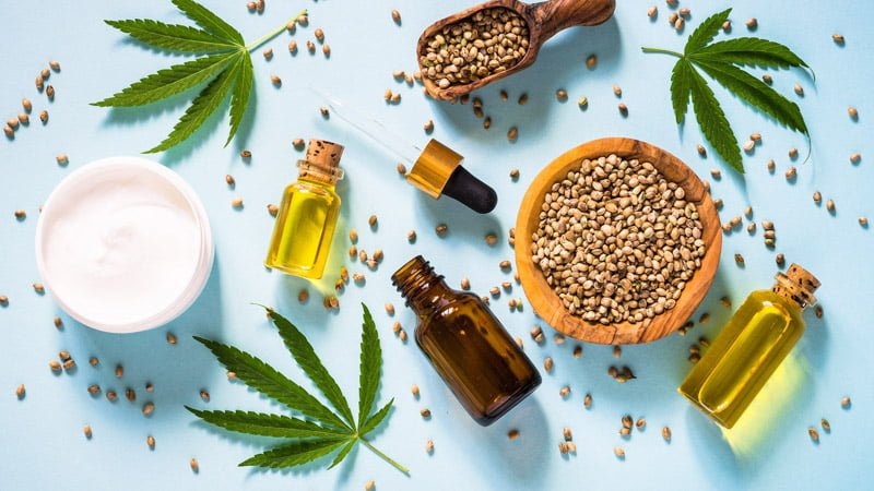 Hemp Products with Hemp Leaves and Seeds
